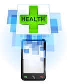 Health cross in mobile phone — Stock Vector