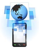 Asia world globe in mobile phone — Stock vektor