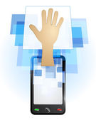 Human hand in mobile phone — Stock Vector