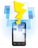Lightning in mobile phone — Stock Vector