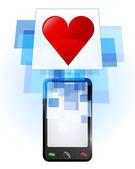 Red heart in mobile phone — Stock vektor