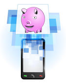 Happy pig in mobile phone — Stock Vector