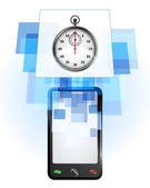 Stopwatch in mobile phone — Vettoriale Stock