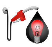Red lightbulb in oil drop — Vetorial Stock
