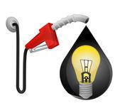 Yellow lightbulb in oil drop — Stock Vector