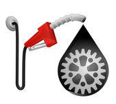 Industrial cogwheel in oil drop — Stockvector