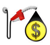 Dollar coin in oil drop — Stock Vector