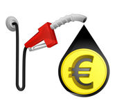 Euro coin in oil drop — Stock Vector