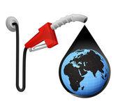 Africa world globe in oil drop — Stock Vector