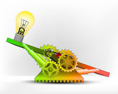 Yellow lightbulb in green area — Stock Vector