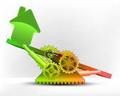 значок дома в зеленой зоне — Cтоковый вектор