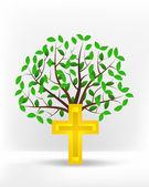 Золотой крест напротив зеленого дерева — Cтоковый вектор