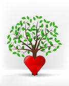 Red heart in front of green tree — Stock Vector