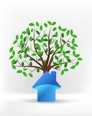 Icône de la maison en face de l'arbre vert — Vecteur