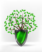 Protective shield in front of green tree — Stock Vector