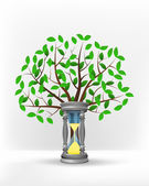 Running sandglass in front of green tree — Vector de stock
