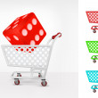 Lucky dice in shopping cart — Stock Vector