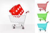 Lucky dice in shopping cart — Vettoriale Stock