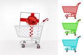 Gift box in shopping cart — Stock Vector