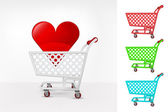 Red heart in shopping cart — Cтоковый вектор