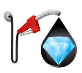 Diamond jewel in oil drop — Stockvektor