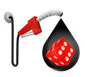 Lucky dice in oil drop — Stock Vector