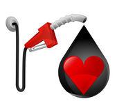 Red heart in oil drop — Stock Vector