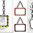Message icon on chain hanged board collection vector — Stock Vector #47222383