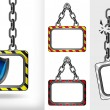 Постер, плакат: Defensive shield on chain hanged board collection vector