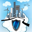 Постер, плакат: Defensive shield on white bubble with ecological cityscape vector