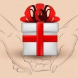 Gift box hold two human hands across vector — Stock Vector