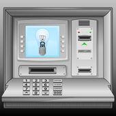 Blue lightbulb on cash machine blue screen vector — Stock Vector