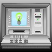 Green lightbulb on cash machine blue screen vector — Stock Vector