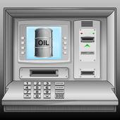 Oil barrel on cash machine blue screen vector — Stock Vector