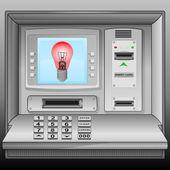 Red lightbulb on cash machine blue screen vector — Stock Vector