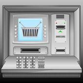 Shopping basket on cash machine blue screen vector — Stock Vector