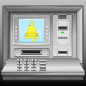 Golden bell on cash machine blue screen vector — Stock Vector