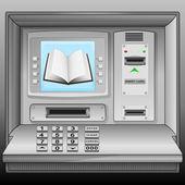 Open book on cash machine blue screen vector — Stock Vector