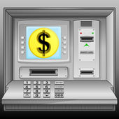 Golden Dollar coin on cash machine blue screen vector — Stock Vector