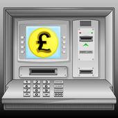 Golden Pound coin on cash machine blue screen vector — Stock Vector