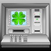 Cloverleaf happiness on cash machine blue screen vector — Stock Vector