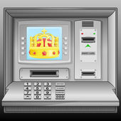 Golden royal crown on cash machine blue screen vector — Stock Vector