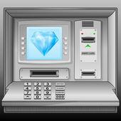 Blue diamond on cash machine blue screen vector — Stock Vector
