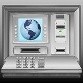 America earth world on cash machine blue screen vector — Stock Vector