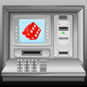 Lucky red dice on cash machine blue screen vector — Stock Vector