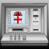 Gift box on cash machine blue screen vector — Stock Vector