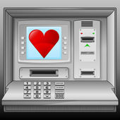 Red heart icon on cash machine blue screen vector — Stock Vector
