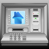 Blue house icon on cash machine blue screen vector — Stock Vector