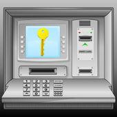 Golden key on cash machine blue screen vector — Stock Vector