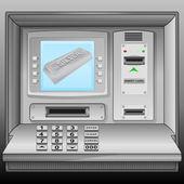 Silver bar on cash machine blue screen vector — Stock Vector